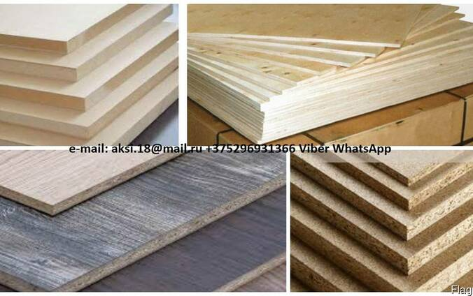 Chipboard, laminated chipboard, MDF, LMDF, HDF, plywood.