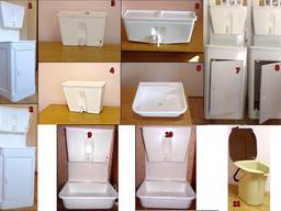 Polypropylene washbasin with heated water and without